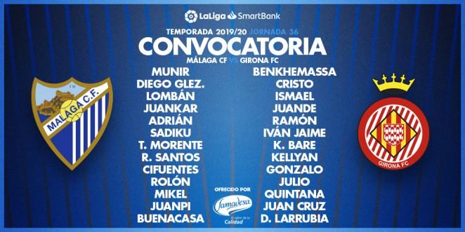 convocatoria Málaga para el partido contra el Girona