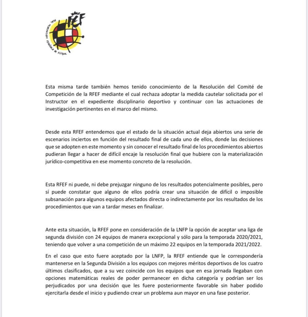 carta rfef propone segunda división 24 equipos