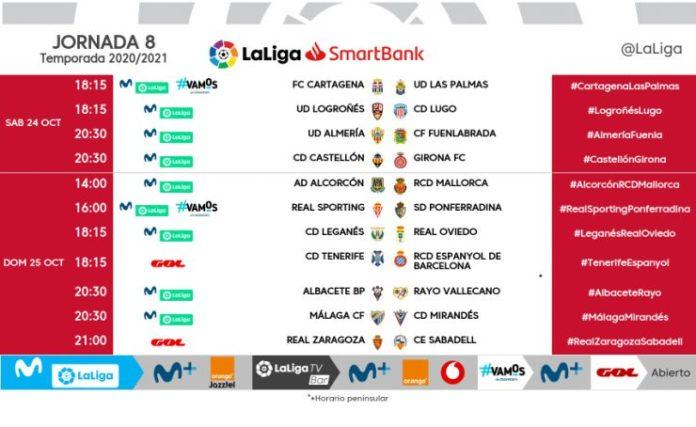 horarios jornada 8 segunda Málaga-Mirandés