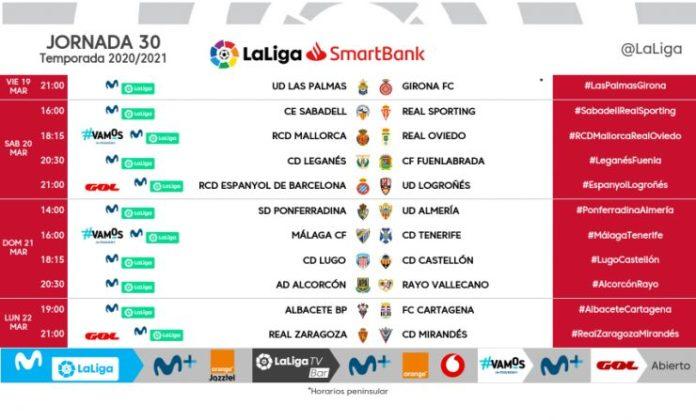 horarios jornada 30 Málaga-Tenerife