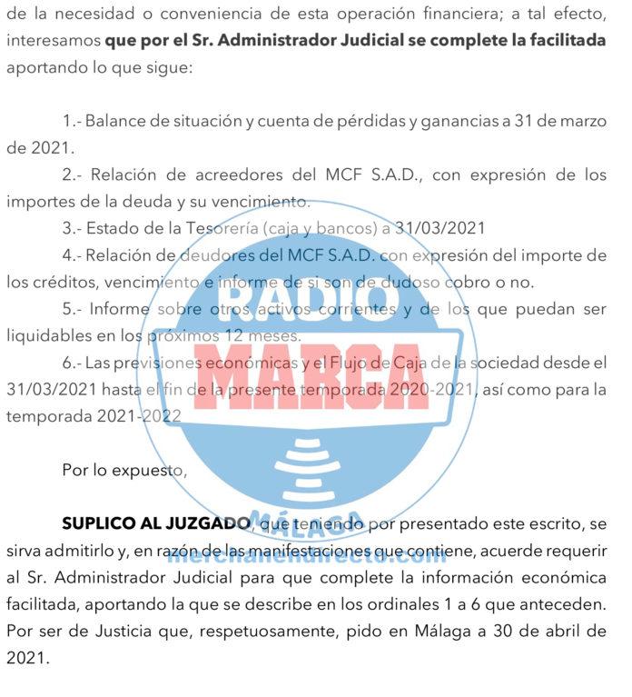 BlueBay alegaciones préstamo Málaga
